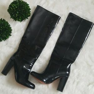 GENUINE PATENT LEATHER KNEE HIGH BOOTS